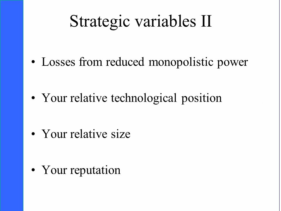 Copyright SDA Bocconi 2005 Competing Technologies, Network Externalities …n 32 Strategic variables II Losses from reduced monopolistic power Your relative technological position Your relative size Your reputation