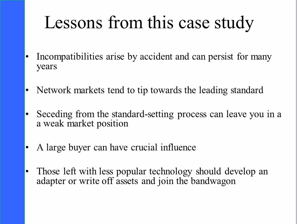 Copyright SDA Bocconi 2005 Competing Technologies, Network Externalities …n 35 Lessons from this case study Incompatibilities arise by accident and ca