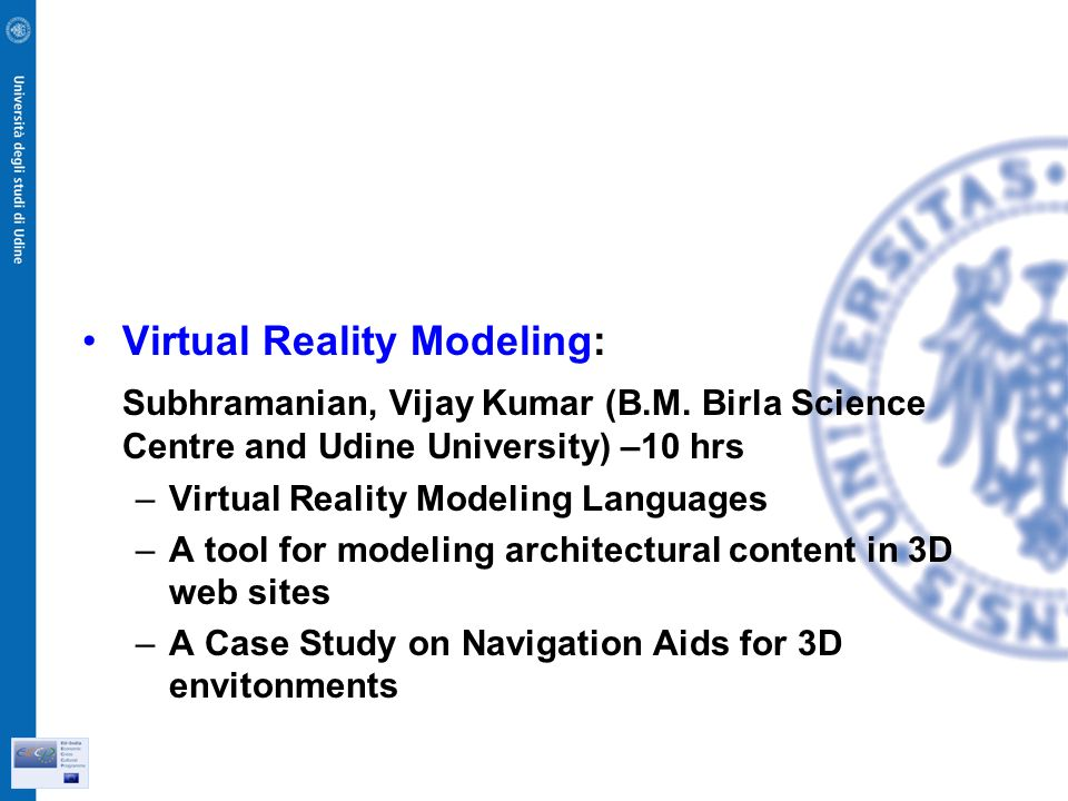 Virtual Reality Modeling: Subhramanian, Vijay Kumar (B.M.