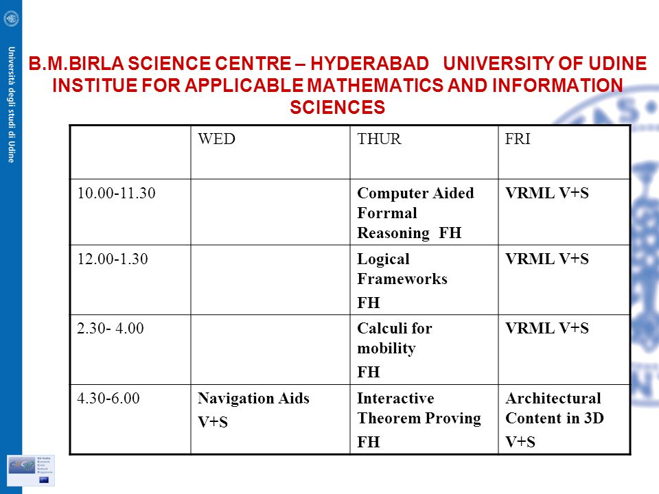 B.M.BIRLA SCIENCE CENTRE – HYDERABAD UNIVERSITY OF UDINE INSTITUE FOR APPLICABLE MATHEMATICS AND INFORMATION SCIENCES WEDTHURFRI Computer Aided Forrmal Reasoning FH VRML V+S Logical Frameworks FH VRML V+S Calculi for mobility FH VRML V+S Navigation Aids V+S Interactive Theorem Proving FH Architectural Content in 3D V+S