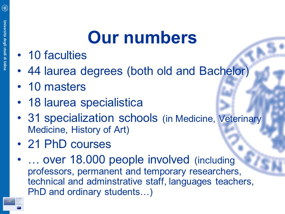 Our numbers 10 faculties 44 laurea degrees (both old and Bachelor) 10 masters 18 laurea specialistica 31 specialization schools (in Medicine, Veterinary Medicine, History of Art) 21 PhD courses … over people involved (including professors, permanent and temporary researchers, technical and adminstrative staff, languages teachers, PhD and ordinary students…)