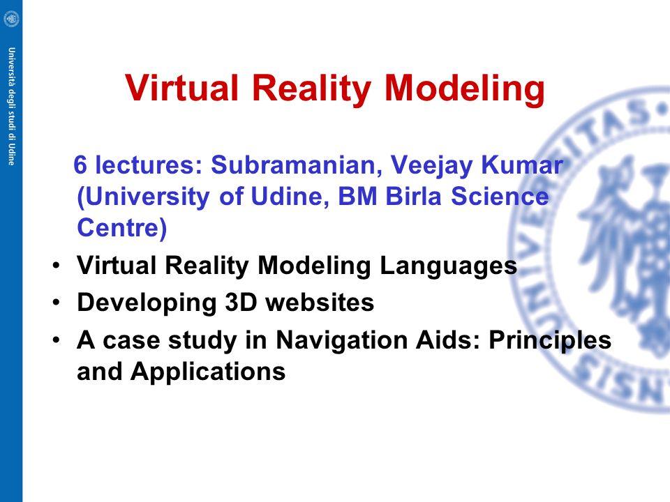 Virtual Reality Modeling 6 lectures: Subramanian, Veejay Kumar (University of Udine, BM Birla Science Centre) Virtual Reality Modeling Languages Devel