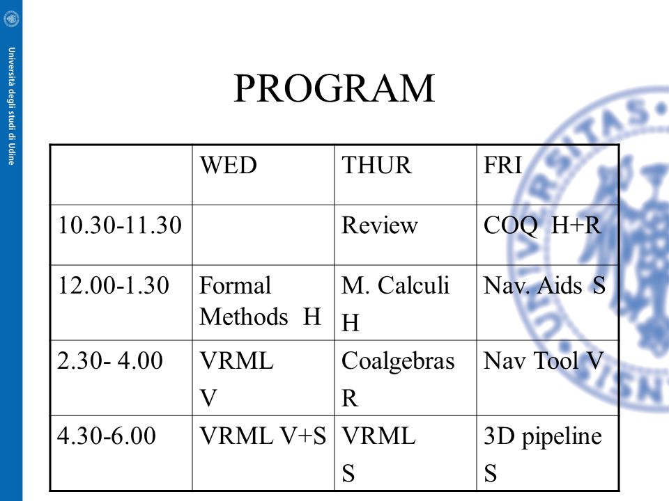 PROGRAM WEDTHURFRI 10.30-11.30ReviewCOQ H+R 12.00-1.30Formal Methods H M. Calculi H Nav. Aids S 2.30- 4.00VRML V Coalgebras R Nav Tool V 4.30-6.00VRML