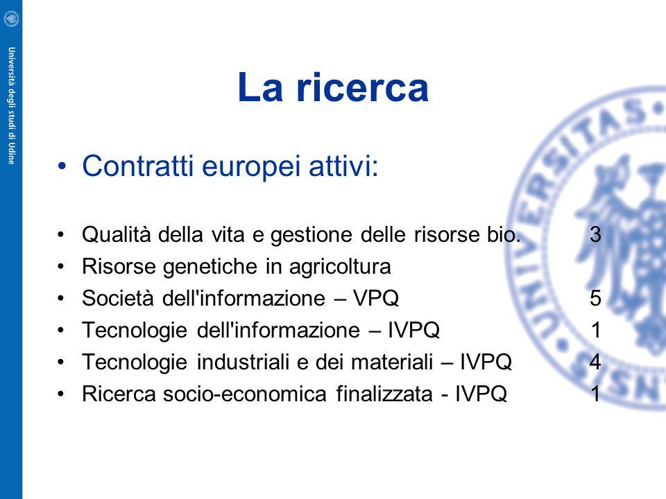 La ricerca Contratti europei attivi: Qualità della vita e gestione delle risorse bio. 3 Risorse genetiche in agricoltura Società dell'informazione – V
