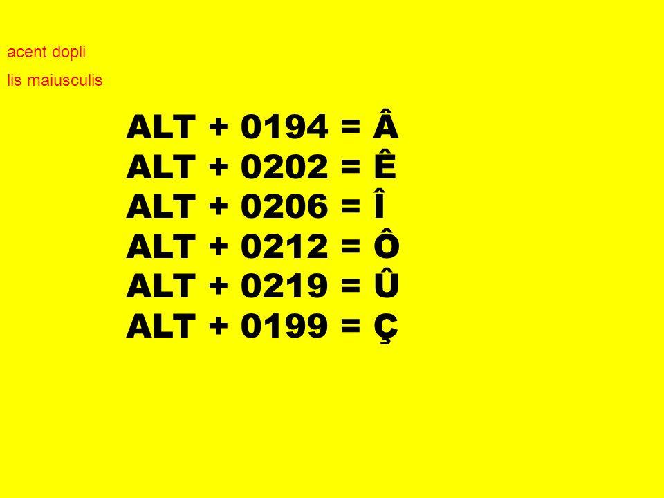 ALT + 0194 = Â ALT + 0202 = Ê ALT + 0206 = Î ALT + 0212 = Ô ALT + 0219 = Û ALT + 0199 = Ç acent dopli lis maiusculis