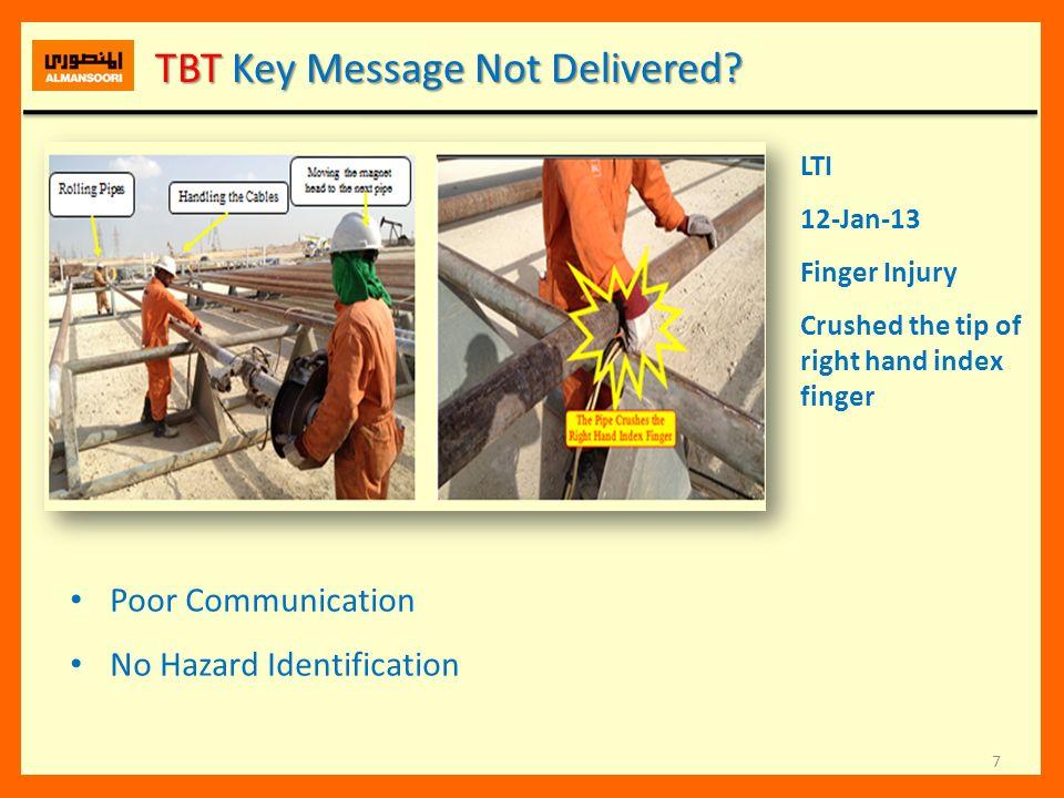 7 TBT Key Message Not Delivered? TBT Key Message Not Delivered? LTI 12-Jan-13 Finger Injury Crushed the tip of right hand index finger Poor Communicat