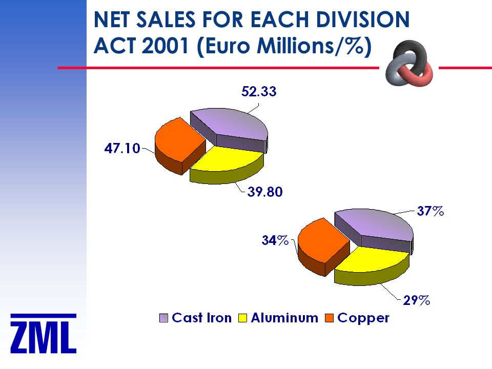 NET SALES FOR EACH DIVISION ACT 2001 (Euro Millions/%)