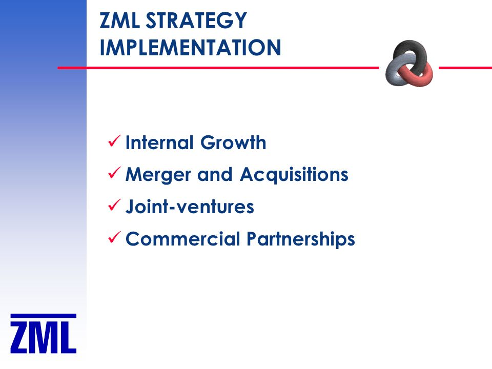 ZML STRATEGY IMPLEMENTATION Internal Growth Merger and Acquisitions Joint-ventures Commercial Partnerships