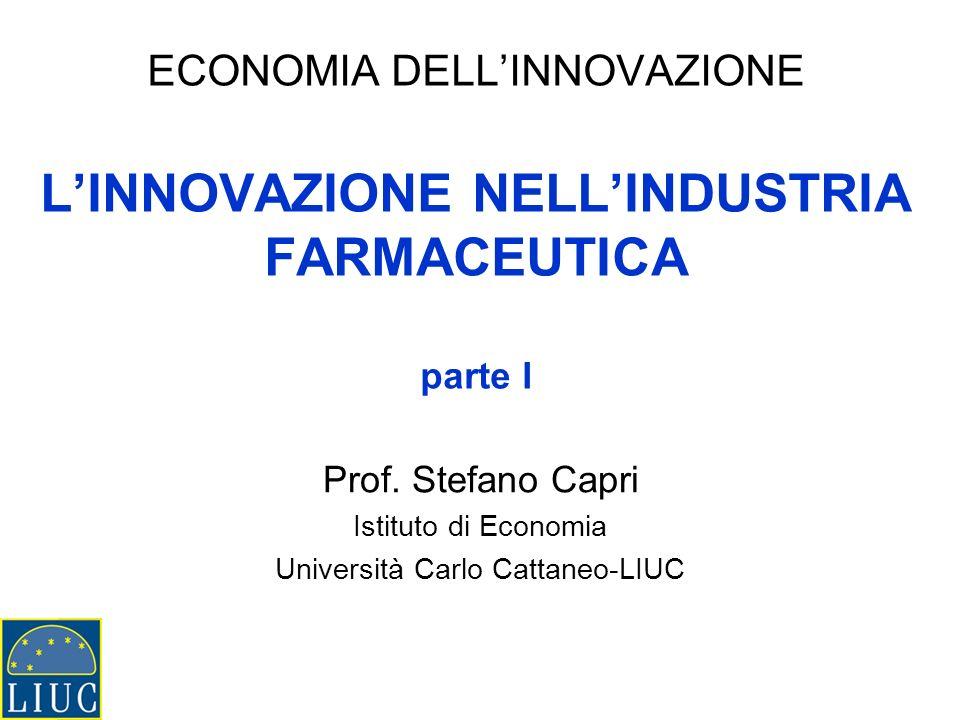 ECONOMIA DELLINNOVAZIONE LINNOVAZIONE NELLINDUSTRIA FARMACEUTICA parte I Prof.