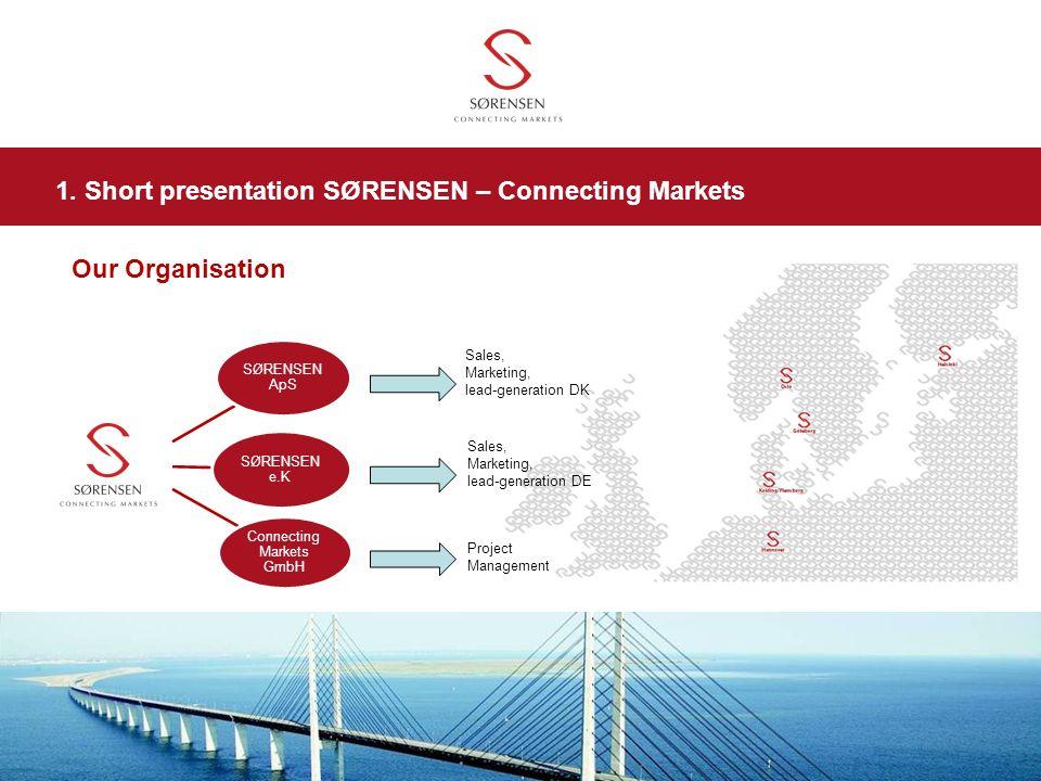 SØRENSEN ApS SØRENSEN e.K Connecting Markets GmbH Our Organisation Sales, Marketing, lead-generation DK Sales, Marketing, lead-generation DE Project M