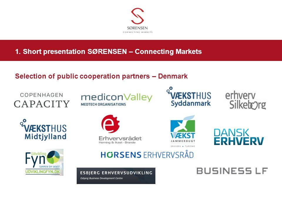 Selection of public cooperation partners – Denmark 1. Short presentation SØRENSEN – Connecting Markets