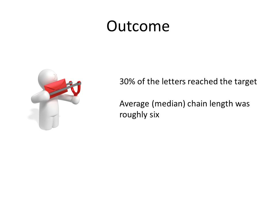 Outcome 30% of the letters reached the target Average (median) chain length was roughly six