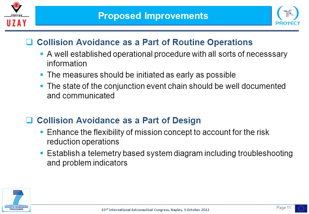 63 rd International Astronautical Congress, Naples, 5 October 2012 Page 11 Proposed Improvements Collision Avoidance as a Part of Routine Operations A