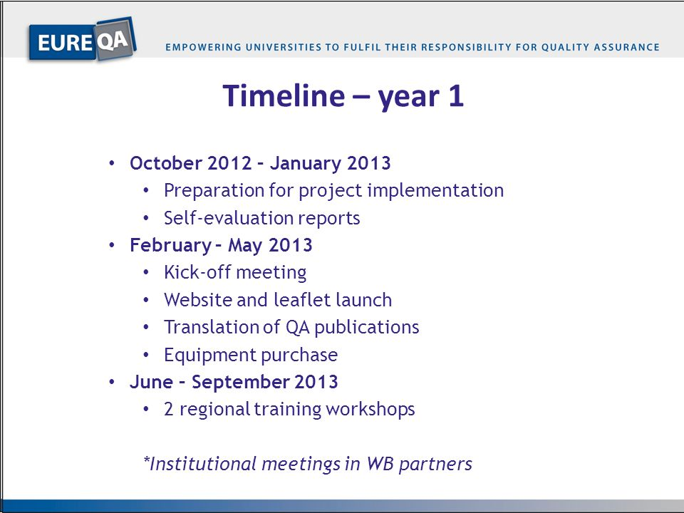 …3… Timeline – year 1 October 2012 – January 2013 Preparation for project implementation Self-evaluation reports February – May 2013 Kick-off meeting