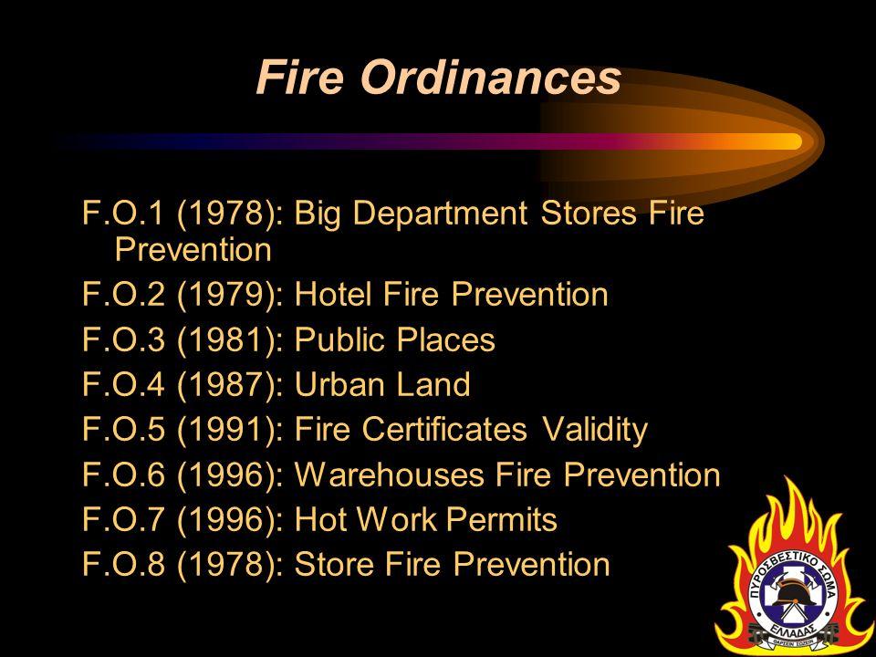Fire Ordinances F.O.1 (1978): Big Department Stores Fire Prevention F.O.2 (1979): Hotel Fire Prevention F.O.3 (1981): Public Places F.O.4 (1987): Urba