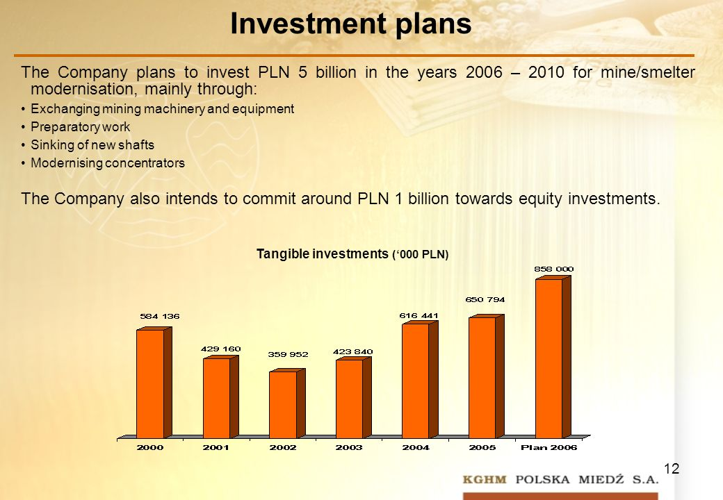 12 Investment plans The Company plans to invest PLN 5 billion in the years 2006 – 2010 for mine/smelter modernisation, mainly through: Exchanging mining machinery and equipment Preparatory work Sinking of new shafts Modernising concentrators The Company also intends to commit around PLN 1 billion towards equity investments.
