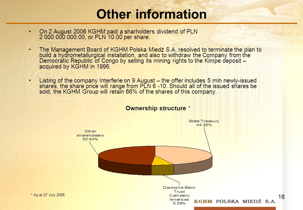 16 Other information On 2 August 2006 KGHM paid a sharholders dividend of PLN 2 000 000 000.00, or PLN 10.00 per share.