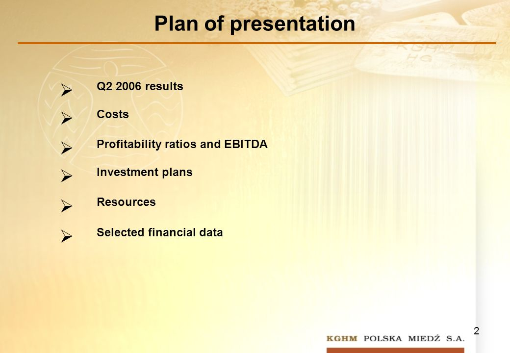 2 Plan of presentation Q results Costs Profitability ratios and EBITDA Investment plans Resources Selected financial data