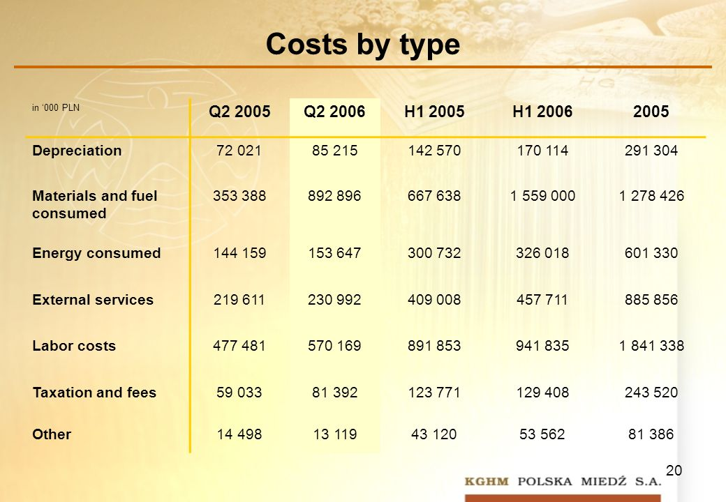 20 Costs by type in 000 PLN Q2 2005Q2 2006H1 2005H1 20062005 Depreciation72 02185 215142 570170 114291 304 Materials and fuel consumed 353 388892 896667 6381 559 0001 278 426 Energy consumed144 159153 647300 732326 018601 330 External services219 611230 992409 008457 711885 856 Labor costs477 481570 169891 853941 8351 841 338 Taxation and fees59 03381 392123 771129 408243 520 Other14 49813 11943 12053 56281 386
