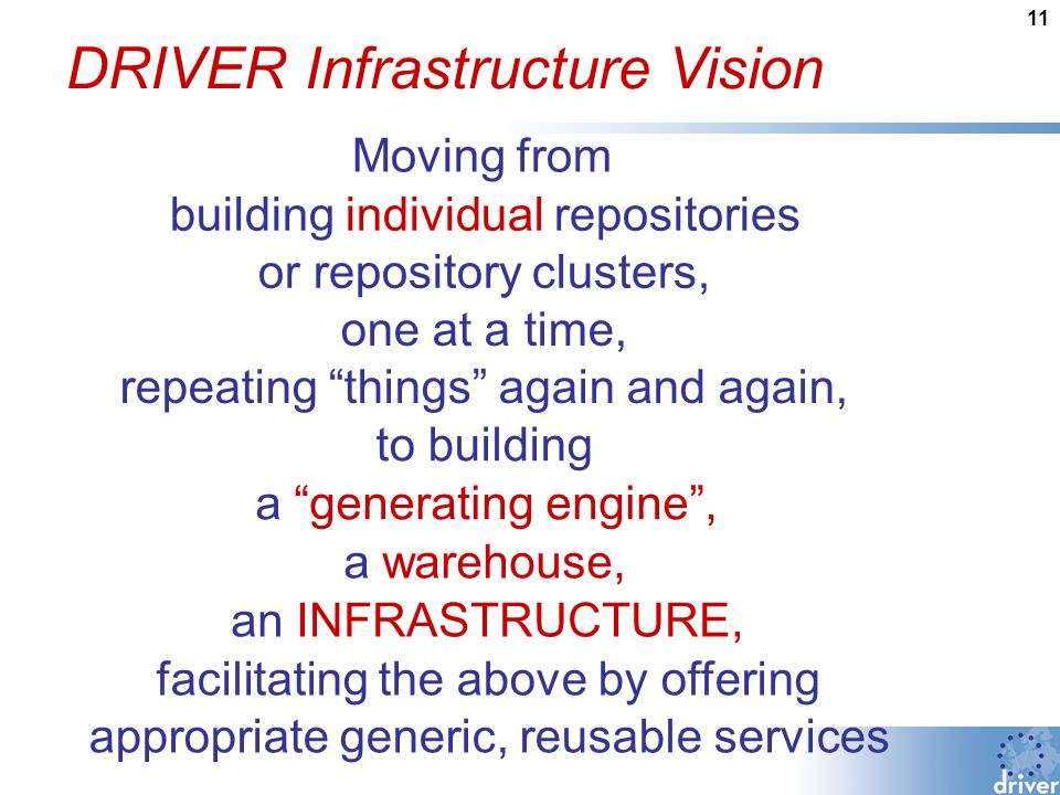 11 DRIVER Infrastructure Vision Moving from building individual repositories or repository clusters, one at a time, repeating things again and again, to building a generating engine, a warehouse, an INFRASTRUCTURE, facilitating the above by offering appropriate generic, reusable services
