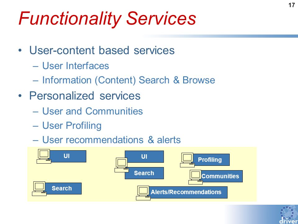 17 Functionality Services User-content based services –User Interfaces –Information (Content) Search & Browse Personalized services –User and Communities –User Profiling –User recommendations & alerts Search UI Search Profiling Communities Alerts/Recommendations