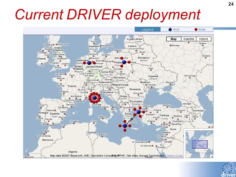 24 Current DRIVER deployment