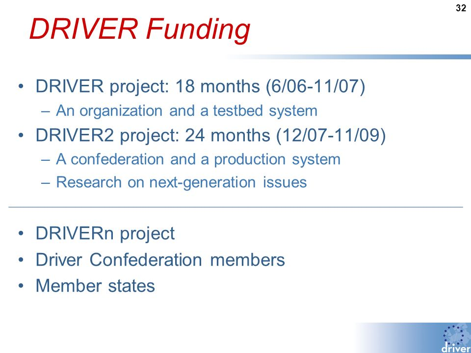 32 DRIVER Funding DRIVER project: 18 months (6/06-11/07) –An organization and a testbed system DRIVER2 project: 24 months (12/07-11/09) –A confederation and a production system –Research on next-generation issues DRIVERn project Driver Confederation members Member states