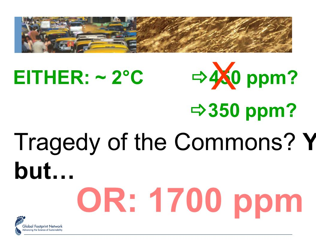 EITHER: ~ 2°C 450 ppm? OR: 1700 ppm Tragedy of the Commons? Yes, but… X 350 ppm?