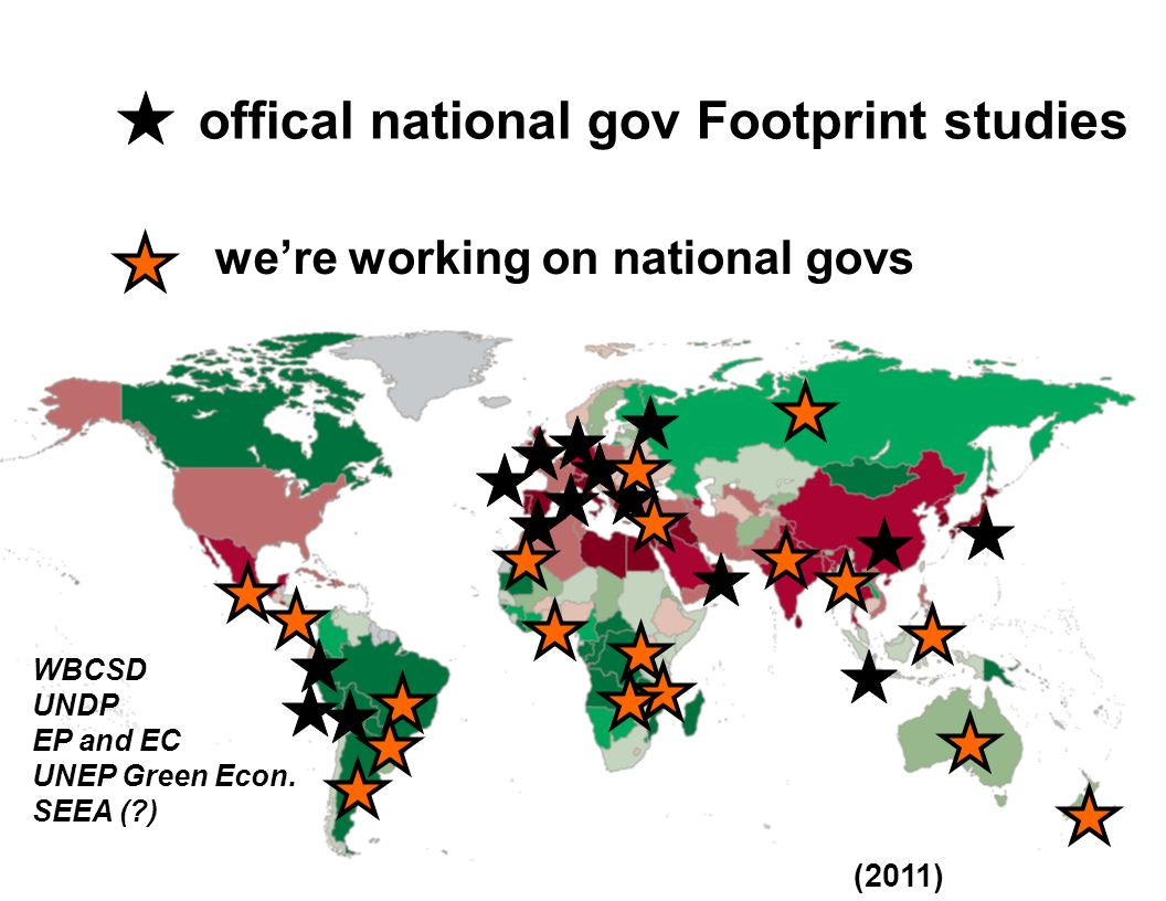 were working on national govs offical national gov Footprint studies (2011) WBCSD UNDP EP and EC UNEP Green Econ. SEEA (?)