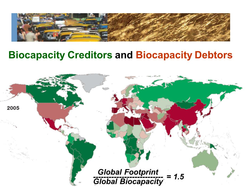 Global Footprint --------------------------- = 1.5 Global Biocapacity Biocapacity Creditors and Biocapacity Debtors