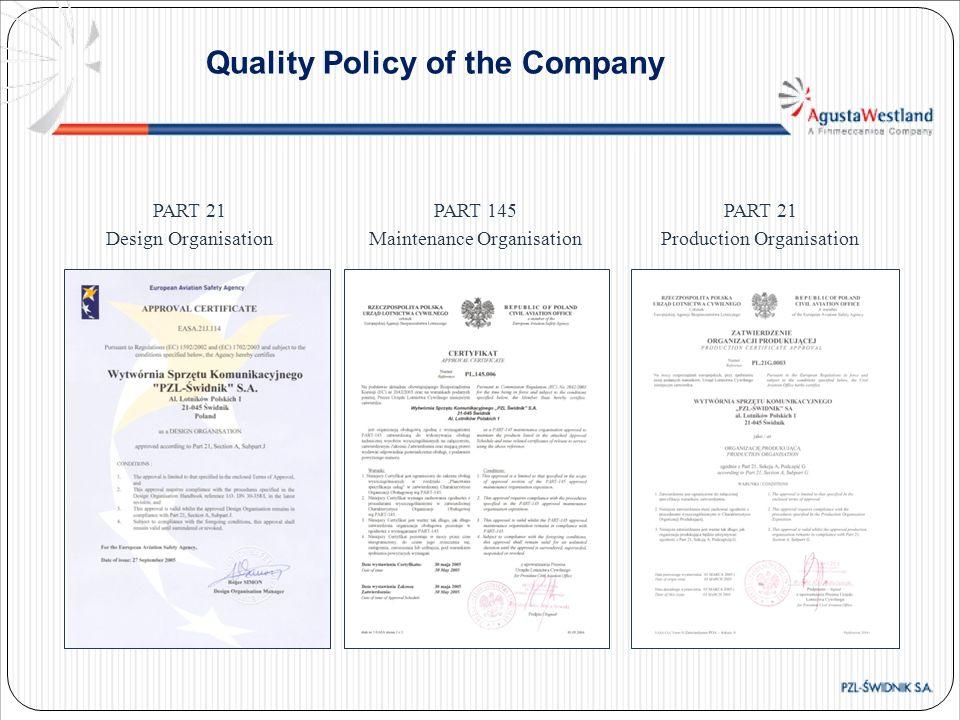 PART 21 Design Organisation PART 145 Maintenance Organisation PART 21 Production Organisation Quality Policy of the Company
