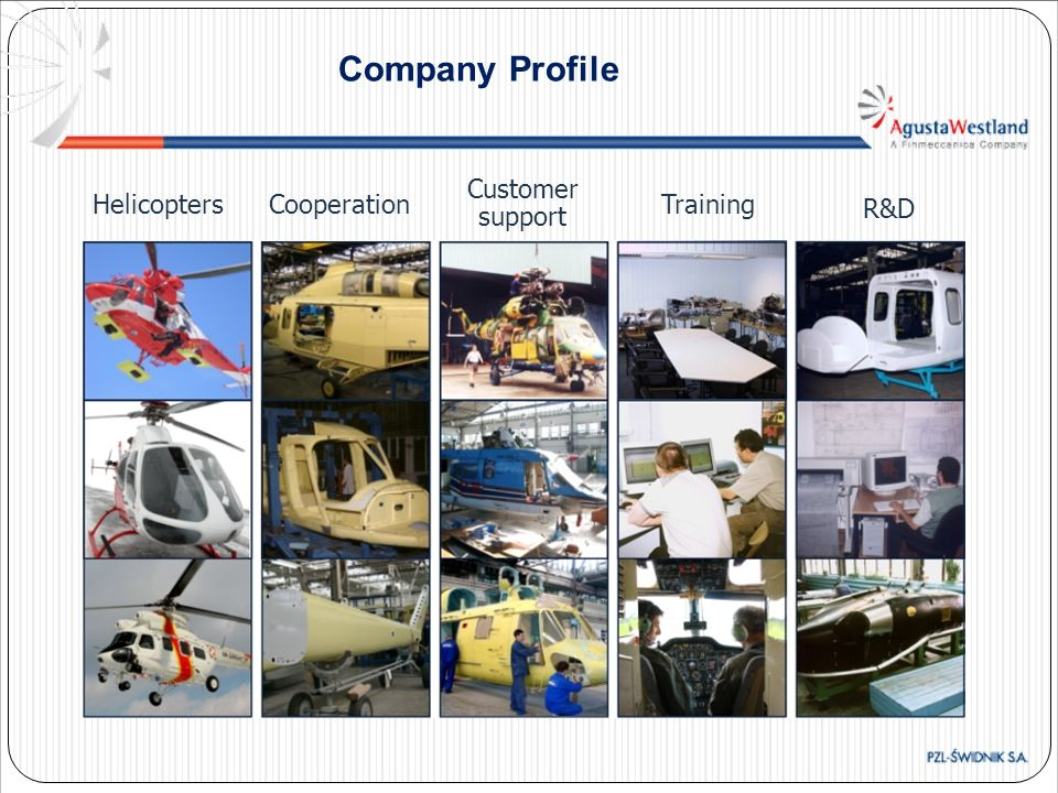 Company Profile R&D Helicopters Cooperation Customer support Training