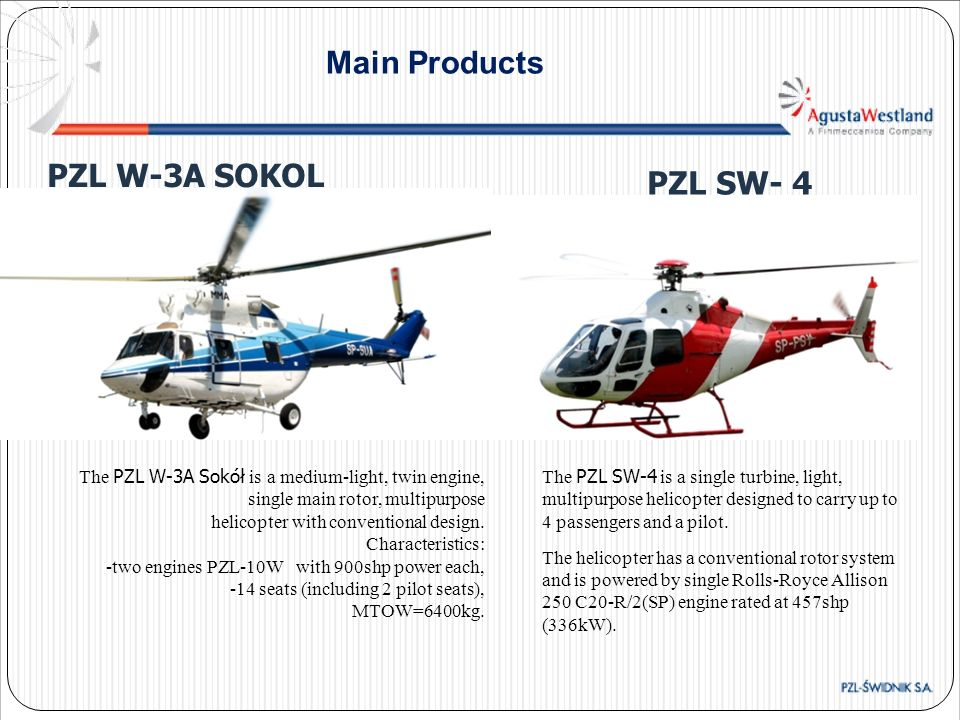 Main Products The PZL W-3A Sokół is a medium-light, twin engine, single main rotor, multipurpose helicopter with conventional design. Characteristics: