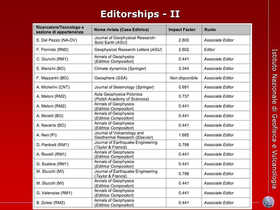 Istituto Nazionale di Geofisica e Vulcanologia Editorships - II