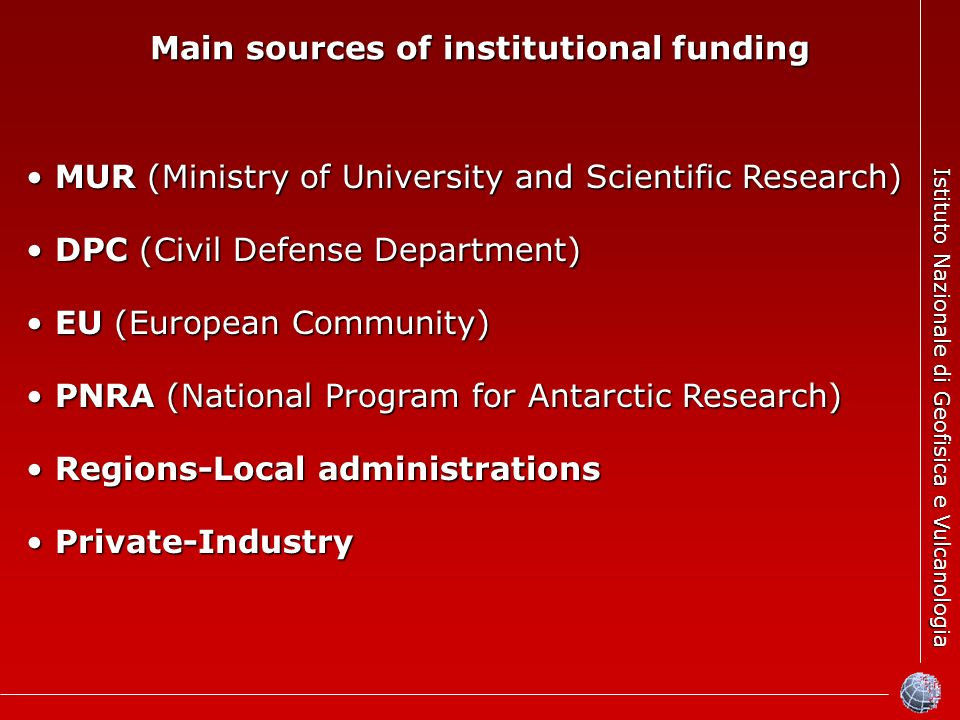 Istituto Nazionale di Geofisica e Vulcanologia Main sources of institutional funding MUR (Ministry of University and Scientific Research) MUR (Ministr