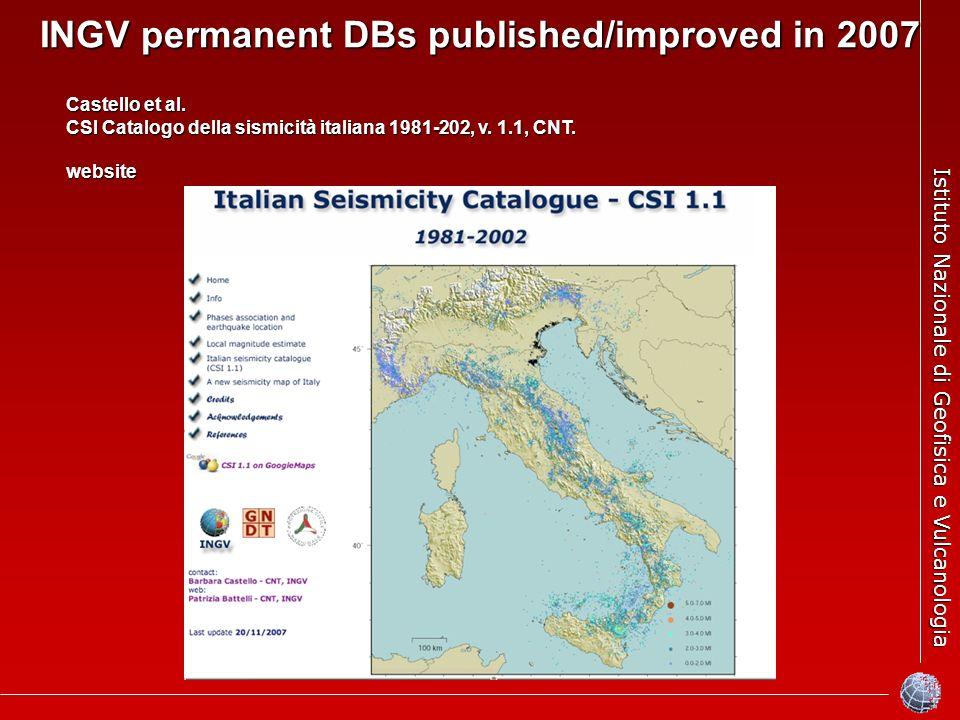 Istituto Nazionale di Geofisica e Vulcanologia INGV permanent DBs published/improved in 2007 Castello et al. CSI Catalogo della sismicità italiana 198