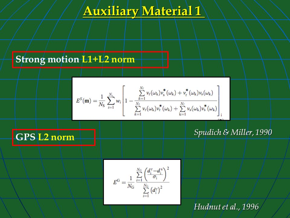 Auxiliary Material 1 Strong motion L1+L2 norm GPS L2 norm Hudnut et al., 1996 Spudich & Miller, 1990