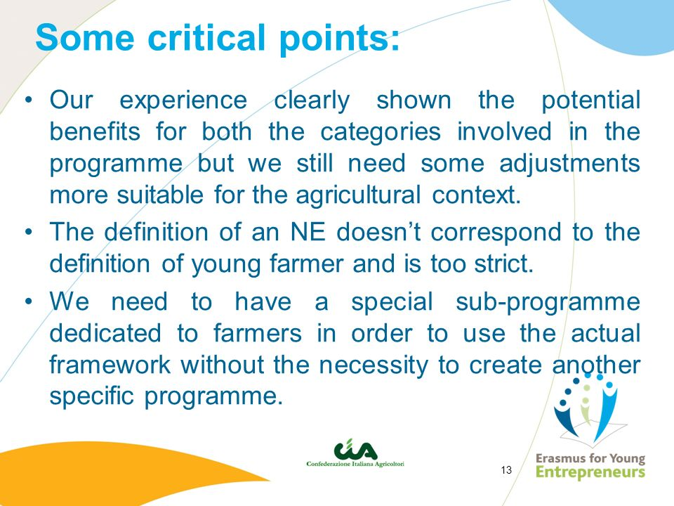 13 Some critical points: Our experience clearly shown the potential benefits for both the categories involved in the programme but we still need some