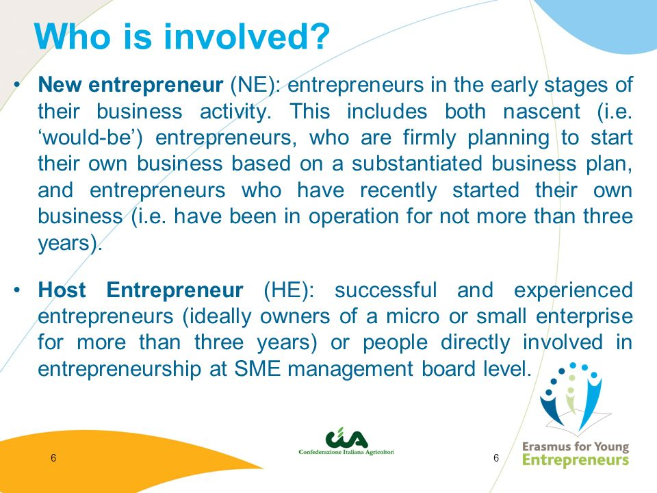 66 Who is involved? New entrepreneur (NE): entrepreneurs in the early stages of their business activity. This includes both nascent (i.e. would-be) en