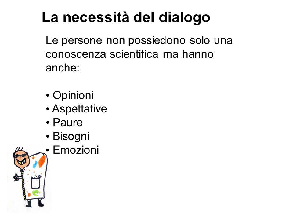 La necessità del dialogo Le persone non possiedono solo una conoscenza scientifica ma hanno anche: Opinioni Aspettative Paure Bisogni Emozioni