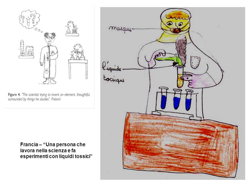 Francia – Una persona che lavora nella scienza e fa esperimenti con liquidi tossici