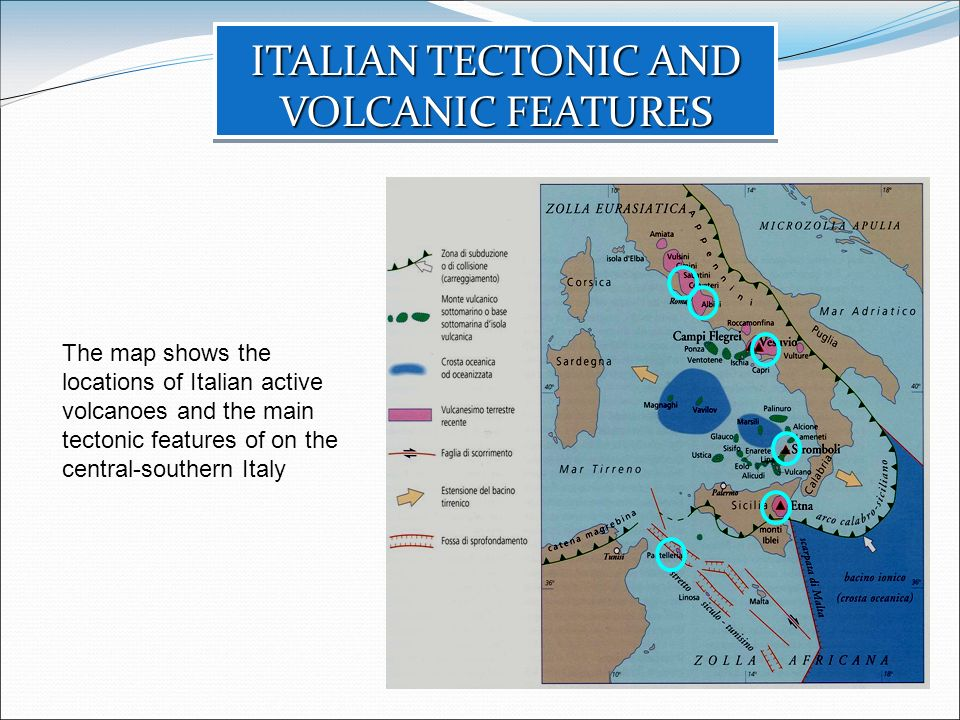 The map shows the locations of Italian active volcanoes and the main tectonic features of on the central-southern Italy ITALIAN TECTONIC AND VOLCANIC