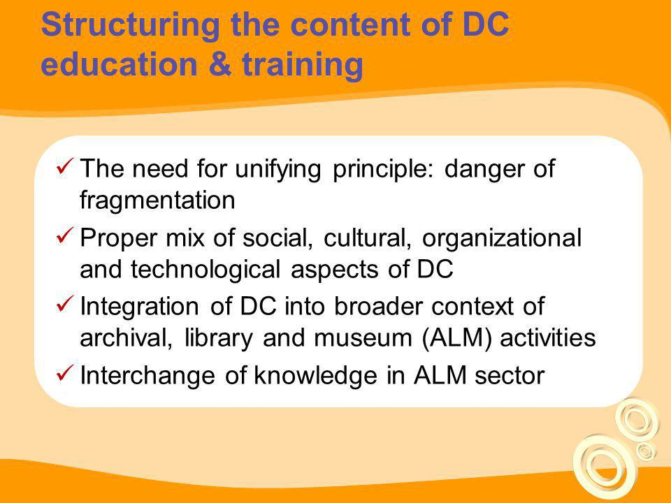 Some pre-requisites for DC structuring priorities The scope of current DC training events