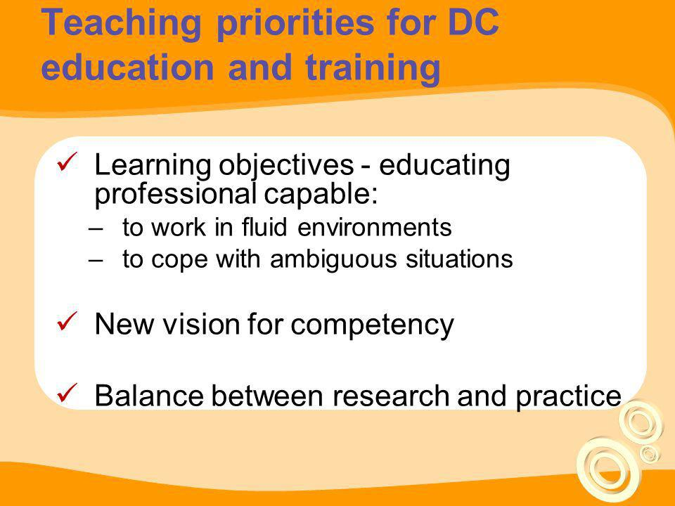 Conceptual model of DC education & training Higher Education Vocational training Conceptual knowledge Operational knowledge Technical skills