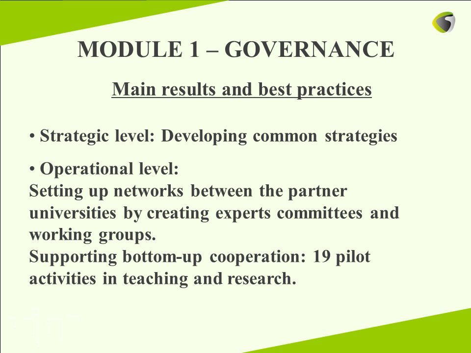 MODULE 1 – GOVERNANCE Main results and best practices Strategic level: Developing common strategies Operational level: Setting up networks between the