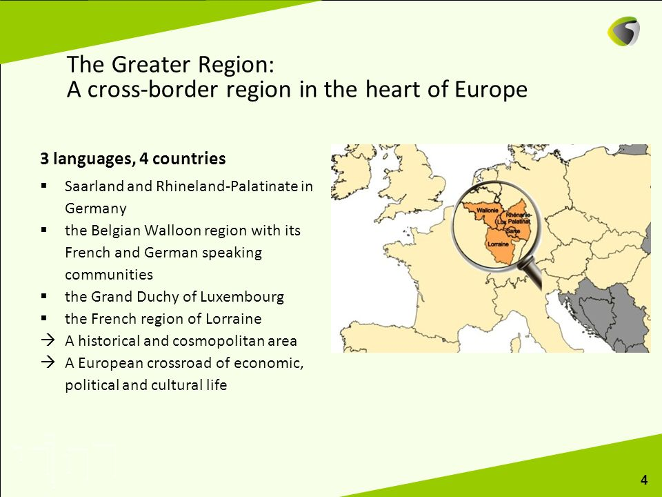 The Greater Region: A cross-border region in the heart of Europe 3 languages, 4 countries Saarland and Rhineland-Palatinate in Germany the Belgian Wal