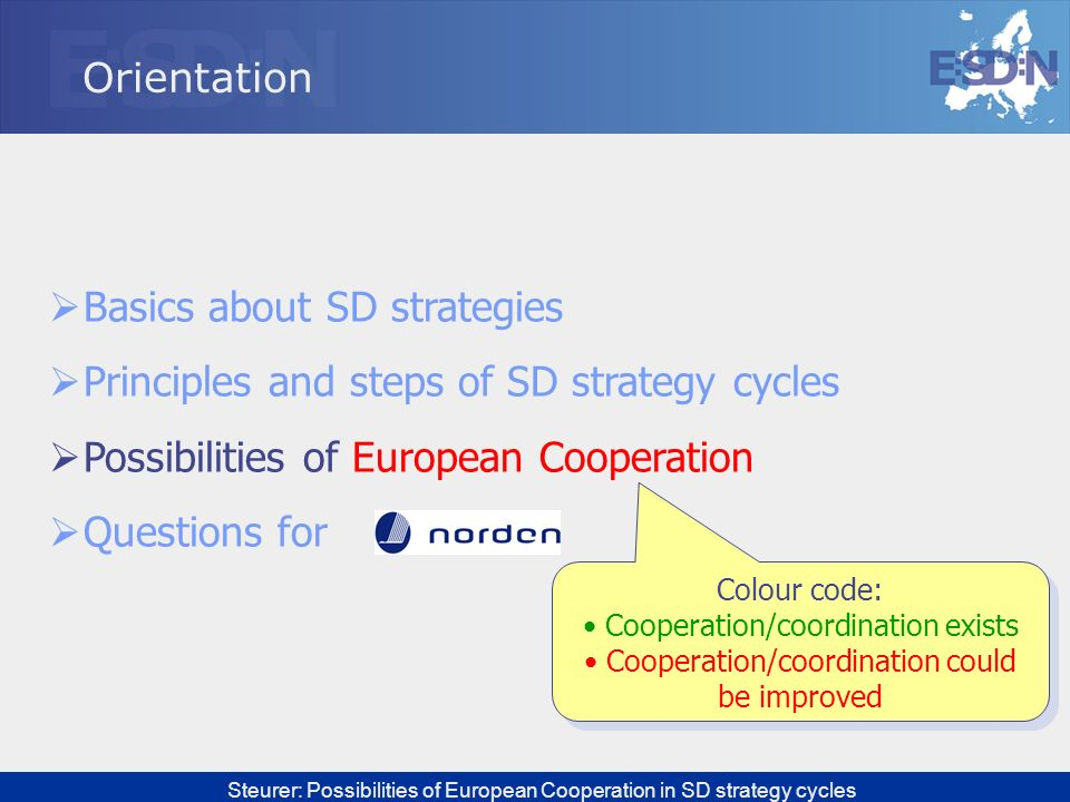 Steurer: Possibilities of European Cooperation in SD strategy cycles Orientation Basics about SD strategies Principles and steps of SD strategy cycles