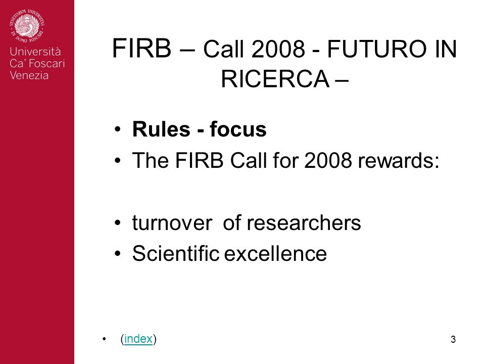 3 Rules - focus The FIRB Call for 2008 rewards: turnover of researchers Scientific excellence (index)index FIRB – Call 2008 - FUTURO IN RICERCA –