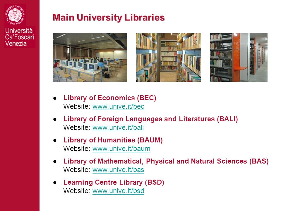 Main University Libraries Library of Economics (BEC) Website: www.unive.it/becwww.unive.it/bec Library of Foreign Languages and Literatures (BALI) Web