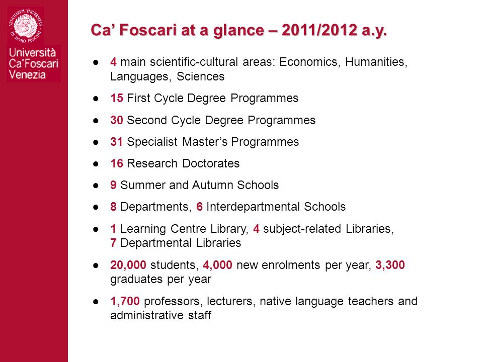 Ca Foscari at a glance – 2011/2012 a.y. 4 main scientific-cultural areas: Economics, Humanities, Languages, Sciences 15 First Cycle Degree Programmes